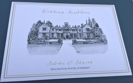 INVITATION: A sample of an invitation from our illustrated wedding stationery range featuring the amazing venue of Dillington House, Somerset, England. We specialise in sketching your venue and using it as a theme throughout the collection.. A bespoke service where we can co-ordinate with your own wedding colour theme or keep to classic white/cream/gold effect. You also have a choice of font styles and wording.  Designed Exclusively for You!