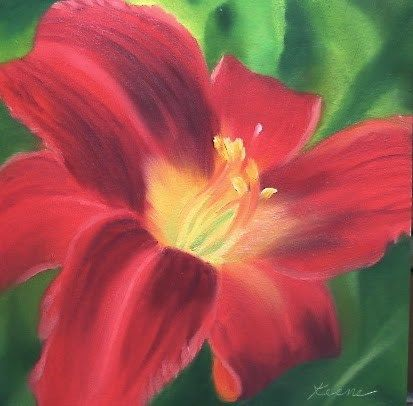 """Daily Paintworks - """"Red Lily"""" - Original Fine Art for Sale - © Carol Keene"""