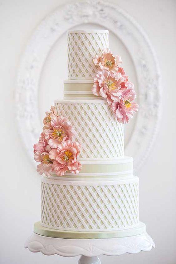 Pretty White Trellis Tiered Wedding Cake