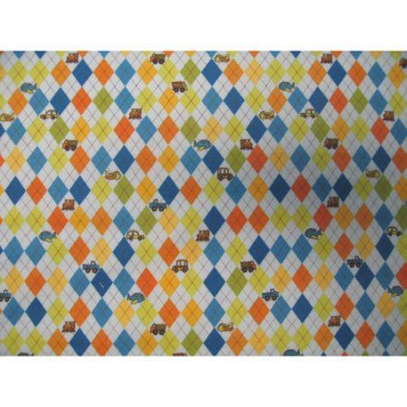 SheetWorld Fitted Pack N Play (Graco Square Playard) Sheet - Argyle Transport Blue