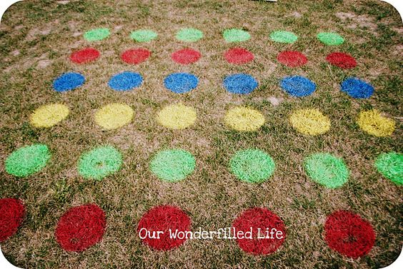 Spray paint colored circles on grass for a game of Twister without a mat that slips  slides.