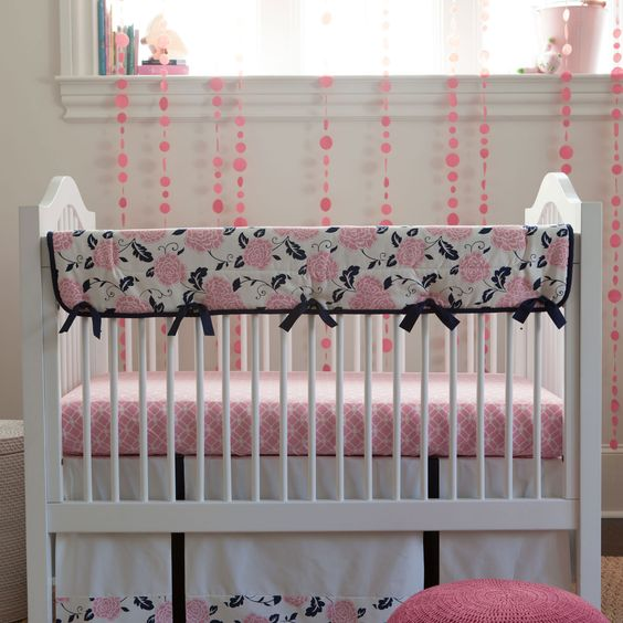 Coral and Navy Floral Crib Rail Cover #carouseldesigns