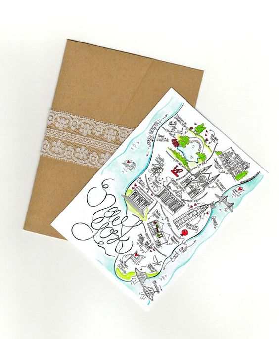 New York City Map/ Invitation/ Save the Date by DesignerMapsByZoe