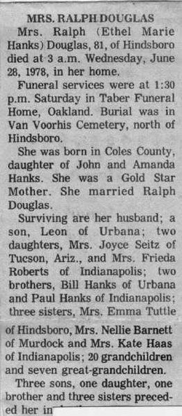 02 Ethel Hanks Douglas Obituary | Welcome to the MTM Kin site