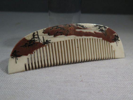 Ancien Petit Peigne Laque Rehausse A L'OR Paysage Epoque Meiji Japon | eBay