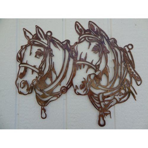 Draft horse head metal wall art country rustic home decor home kitchen products Horse design kitchen accessories