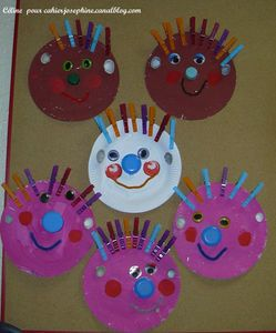 Paper Plate & Clothespin Faces