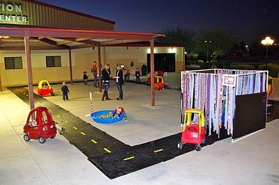 A Race Car Birthday Party -> fun car wash!