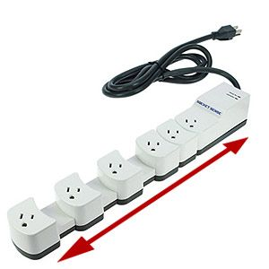 This is a bloody great idea. The outlets move so it is easy to accommodate various sized plugs!  genius!