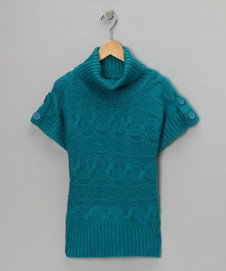 Blue Cable Knit Short-Sleeve Sweater