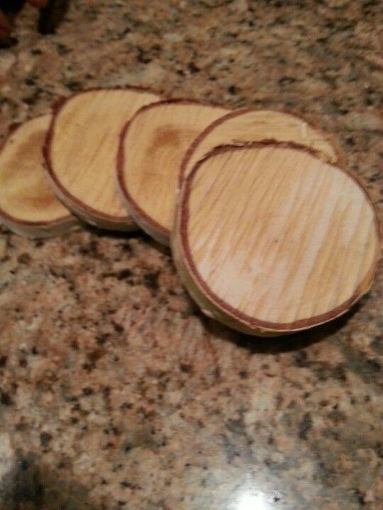 Homemade burch wood coasters
