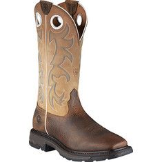 Ariat Workhog Wide Square Toe Tall (men's) - Earth/beige Full Grain Leather