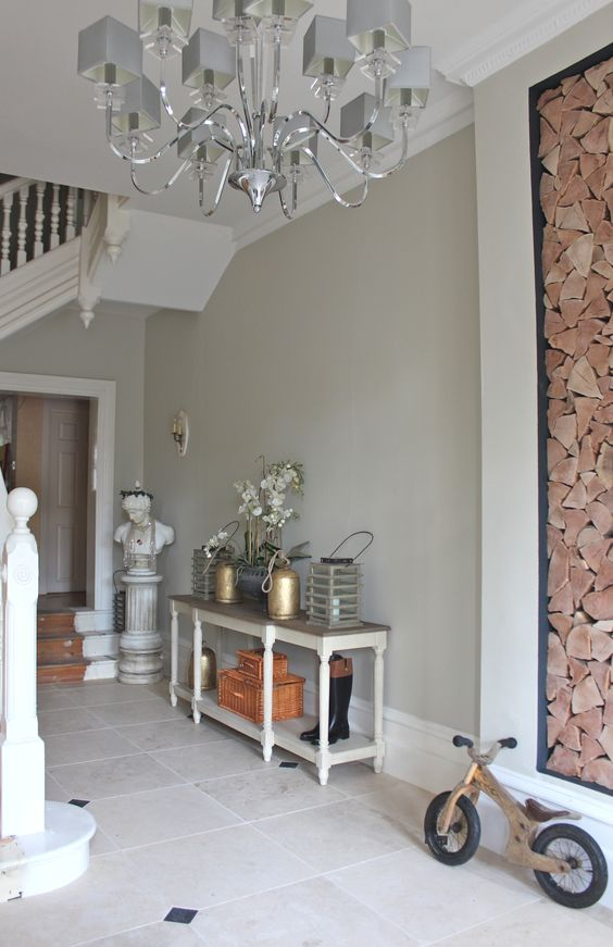 Moving on out into the large hallway now, also painted Farrow and Ball Shaded White. Isn't it beautiful. Can you hear the angels strumming their harps?! The long console table is from OKA.  Modern Country Style: Full Home Tour Click through for details.