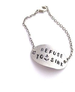 refuse to sink silver chain bracelet. Hand stamped anchor jewelry by Indo Love. Beach jewelry - SUP Yoga - www.indo-love.com