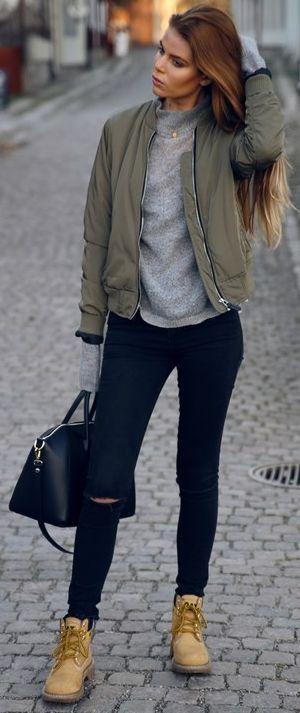 Josefin Ekstrom Olive Bomber Jacket Fall Street Style Inspo: