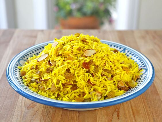 Claudia Roden's Riz au Saffran - Saffron Rice with Raisins and Almonds