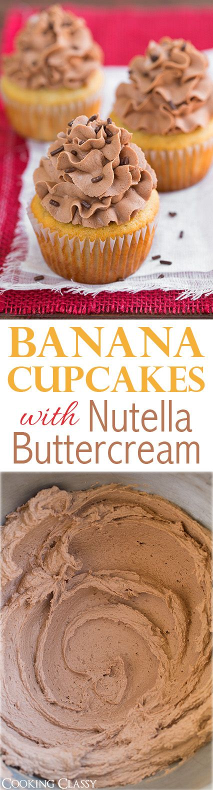 Banana Cupcakes with Nutella Buttercream Frosting - such a delicious combination! A neighbor told me these were the best cupcakes they've ever had and asked me to make them again for them!