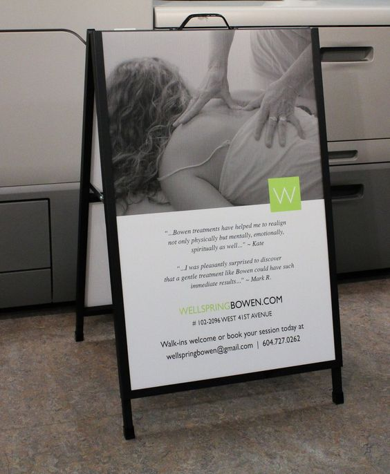 """LinxPrint.com on Twitter: """"Metal A-Frame Sandwich Board with coroplast insert signs for Wellspring Bowen Therapy. https://t.co/6SCCtpq6sh"""""""