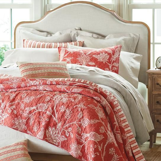 Change up the look of your bedroom from a dramatic floral to a distinctive stripe, in just seconds, with our conveniently reversible Maya Bedding    Collection. The elaborate bird and branch print is inspired by an authentic batik motif. The stripe's ample amount of white instantly makes the room feel    lighter and brighter. Enjoy contrasting the various components, including a decorative pillow, for a professionally decorated look.                Reversible quilts and shams with a strip...