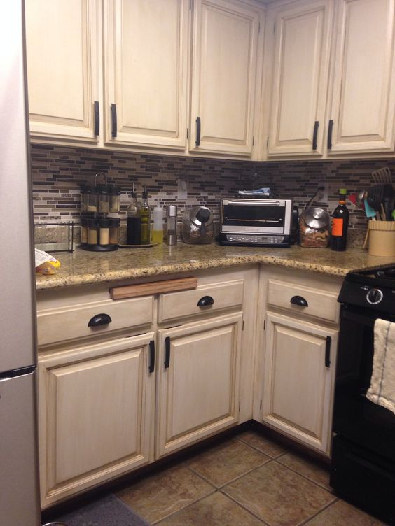 Oak cabinet redo. My kitchen was typical 90s oak with white tile ...
