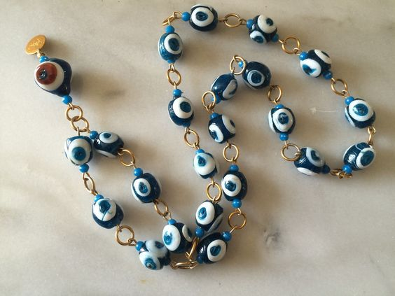VTG Art Glass Fish Eye Hand Blown Glass Necklace Large Blue White Bead Gold Tone…