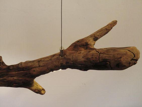 Hängelampe Treibholz Hängeleuchte Holz inkl. Leds von PeKa-Ideen via dawanda.com