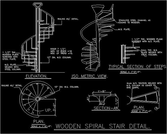 Spiral staircases spirals and staircases on pinterest for Spiral stair dwg