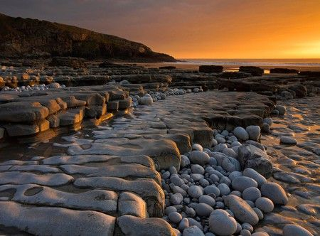Dunraven Bay at sunset.