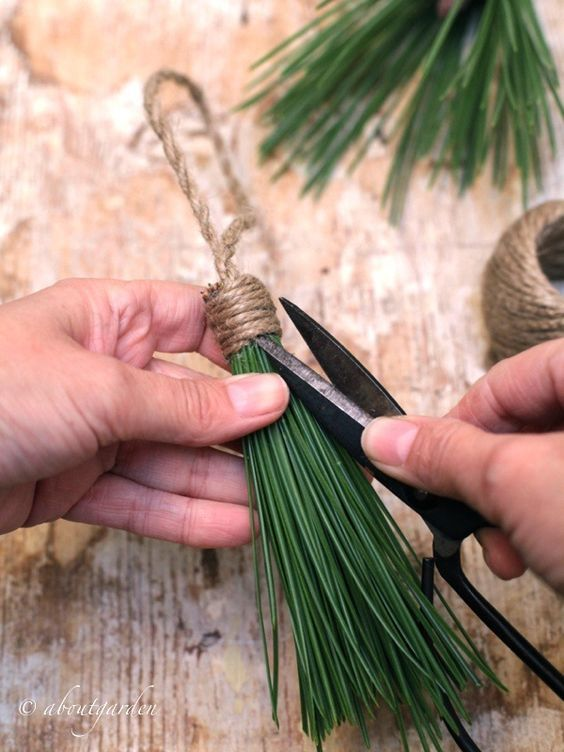 DIY: Tassels pine needles #natalealverde. Use up any needles from the tree or cut branches!: