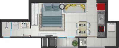 Loft em Joinville. Super moderno e prático! Planta Loft Joinville - SC