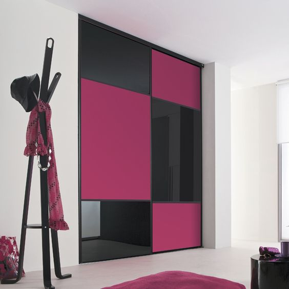 kazed portes de placard coulissantes karacter 2 verre laqu noir et m lamin fuschia couloir. Black Bedroom Furniture Sets. Home Design Ideas