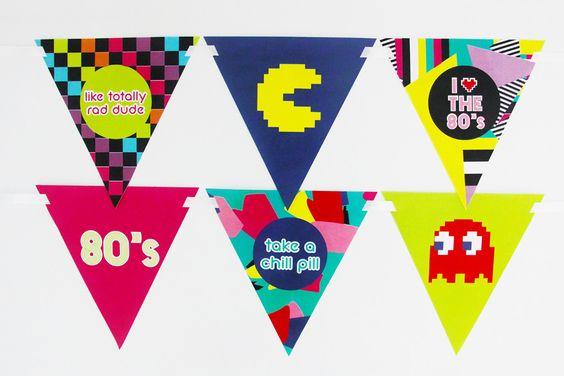 80s Party Printable, Pac-Man Buntings | Creative Sense Co