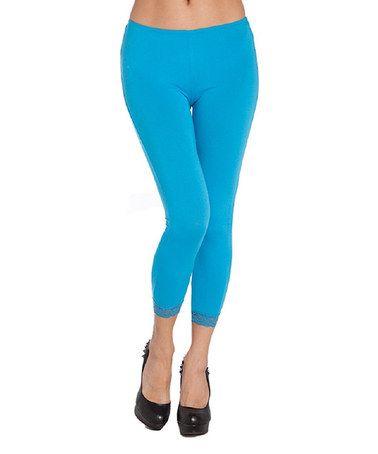 Sky Blue Lace-Trim Crop Leggings #zulily #zulilyfinds