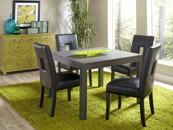 Rent CORT's Dorian square dining table and chairs.