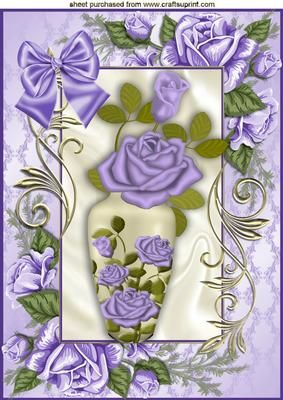 VASE OF PURPLE ROSES IN ROSE FRAME WITH BOW A4 on Craftsuprint - Add To Basket!: