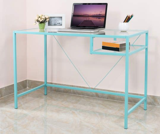 Just Home Aqua Metal Glass Desk Big Lots Cheap Office Furniture Home Office Furniture Glass Desk