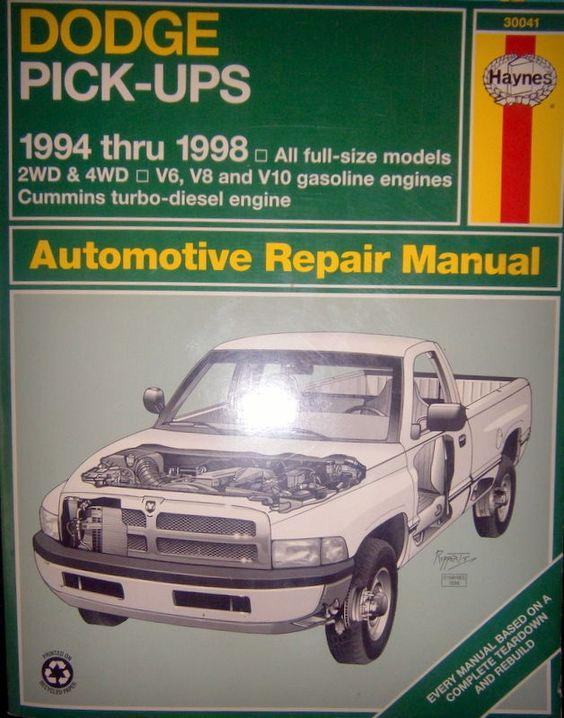 haynes repair manual 30041 dodge pick ups 1994 thru 1996 all full rh pinterest com 1998 dodge ram 1500 service manual free 1998 dodge ram 1500 service manual free