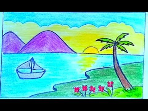 رسم منظر طبيعي سهل رسم فصل الربيع How To Draw Easy Scenery Youtube Nature Drawing Nature Drawings