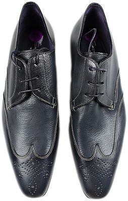 SANTONI DARK BLUE WING-TIP LEATHER LACE UP SHOES