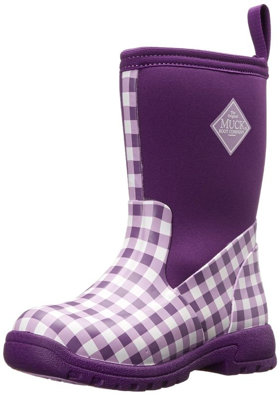 Muck Boot Kid's Breezy Rain Boots Purple Gingham Size 13.0M