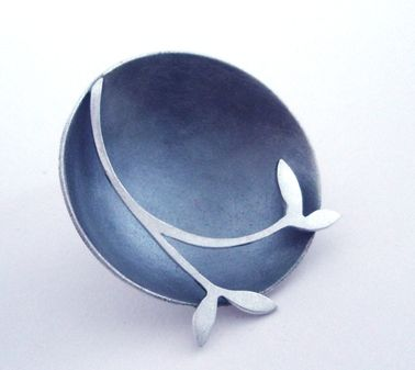 Round brooch with leaf detail   Contemporary Brooches by contemporary jewellery designer Kate Smith