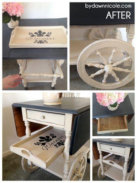 Craigslist Painted Tea Cart Makeover
