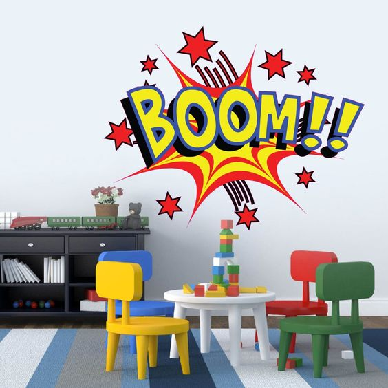Large Cartoon Boom Comic Book Kids Vinyl Girls Room Boys Room Baby Nursery Wall Sticker Decal Mural Wall Art Decoration Amazon.co.uk Kitchen & Home