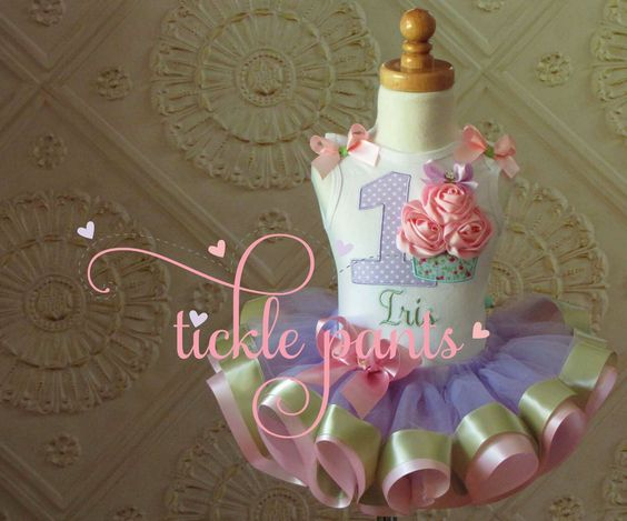 Shabby Chic Cupcake Birthday Outfit- Pink mint lavender- Includes 3D cupcake top and ruffled ribbon tutu - Available in MANY colors by TicklePants on Etsy https://www.etsy.com/listing/241551447/shabby-chic-cupcake-birthday-outfit-pink