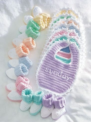 Bernat Crochet Baby Bib Pattern : Day of the Week Bibs and Booties Crochet baby, Sugar ...
