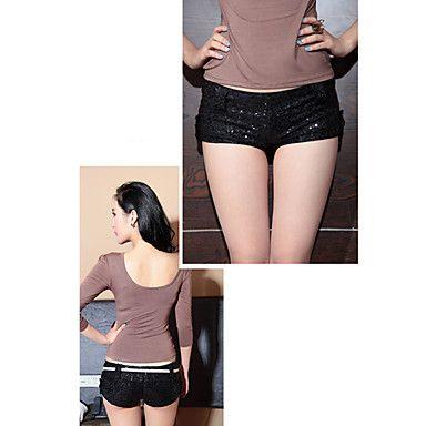Women's Paillette Skinny Hot Pants - USD $ 38.99