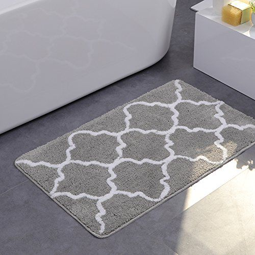 Ukeler Microfiber Rubber Back Bathroom Rugs Modern Geometric Bath