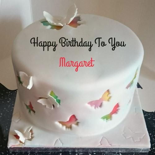 Write Name on Rainbow Butterfly Birthday Cake