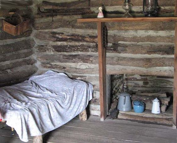 Interior of replica of Laura Ingalls' Little House on the Prairie. 13 miles southwest of  Independence, Kansas