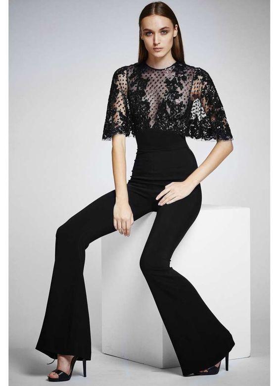 Jumpsuit nera Zuhair Murad - Modello con corpino in pizzo fra le tute da donna eleganti 2016